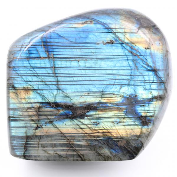 Labradorite à reflets bleue striés, forme libre de décoration