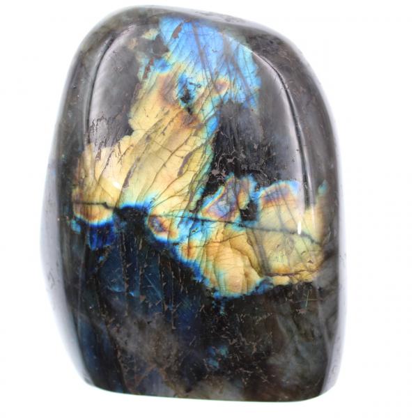 Labradorite à reflets jaunes, pierre de décoration