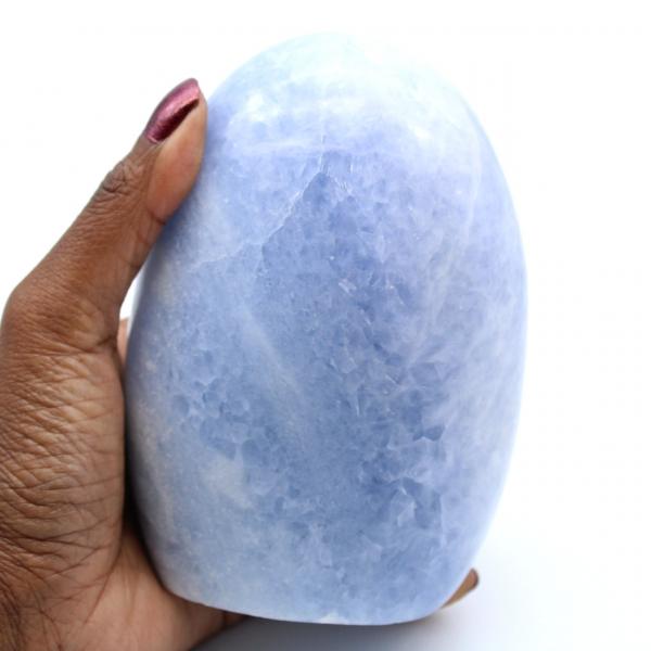 Calcite bleue polie de Madagascar
