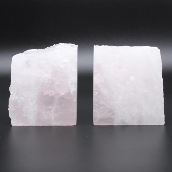 Serre livres quartz rose 2 pièces